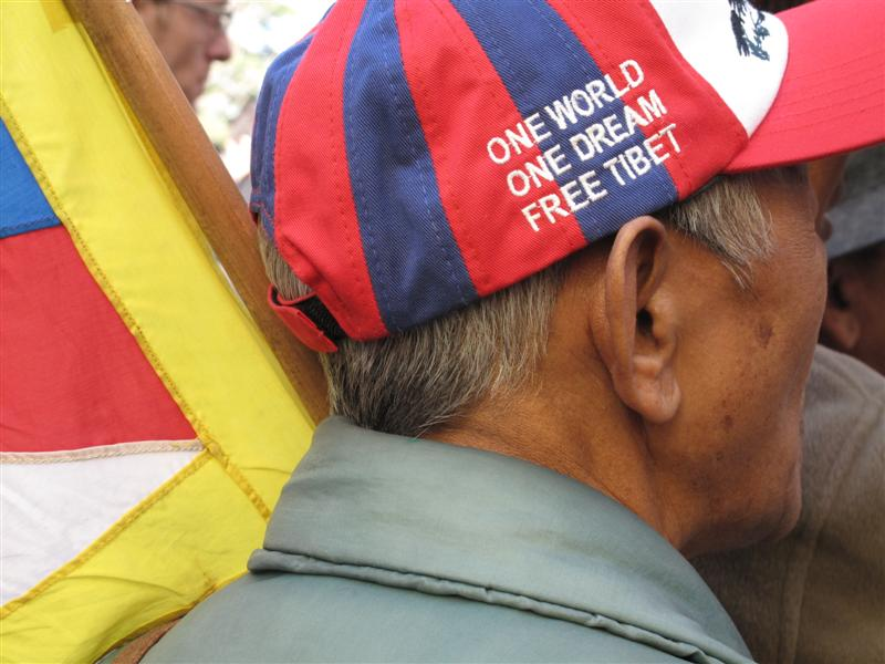 One world.One Dream.Free Tibet cap wearing Tibetan.